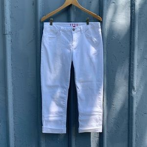 Elle white rolled cuff jeans